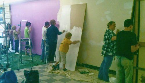 Volunteers prepare first shop