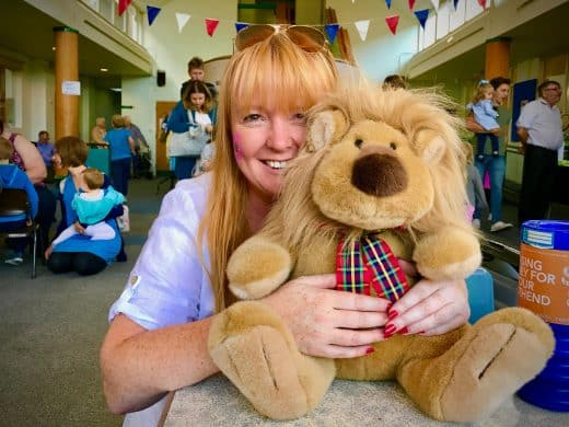 Helen Watts with Fun Day soft Toy