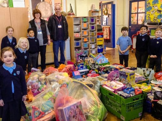 Chalkwell Infant School pupils with donations