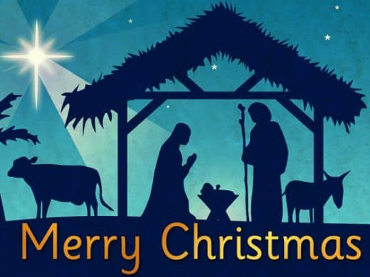 "Christmas nativity scene and the words ""Happy Christmas"""