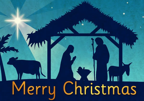 """Christmas nativity scene and the words """"Happy Christmas"""""""